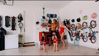 organizing and cleaning the entire garage with the kids!