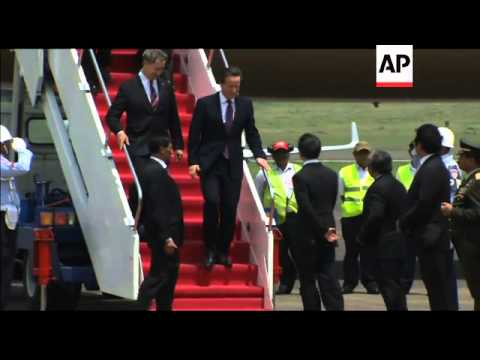 UK PM Cameron arrives in Indonesia as part of Asia tour