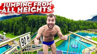 Cliff jumping from ALL heights | How it feels like to dive from 90 ft?