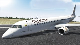 myanmar-air,-embraer-190-emergency-landing-due-to-nosewheel-failure,-mandalay-airport-xp11