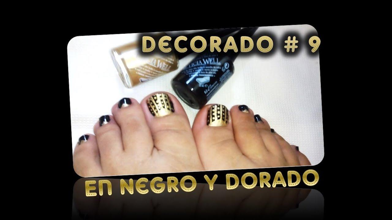 Decorado Unas De Los Pies 9 En Negro Y Dorado