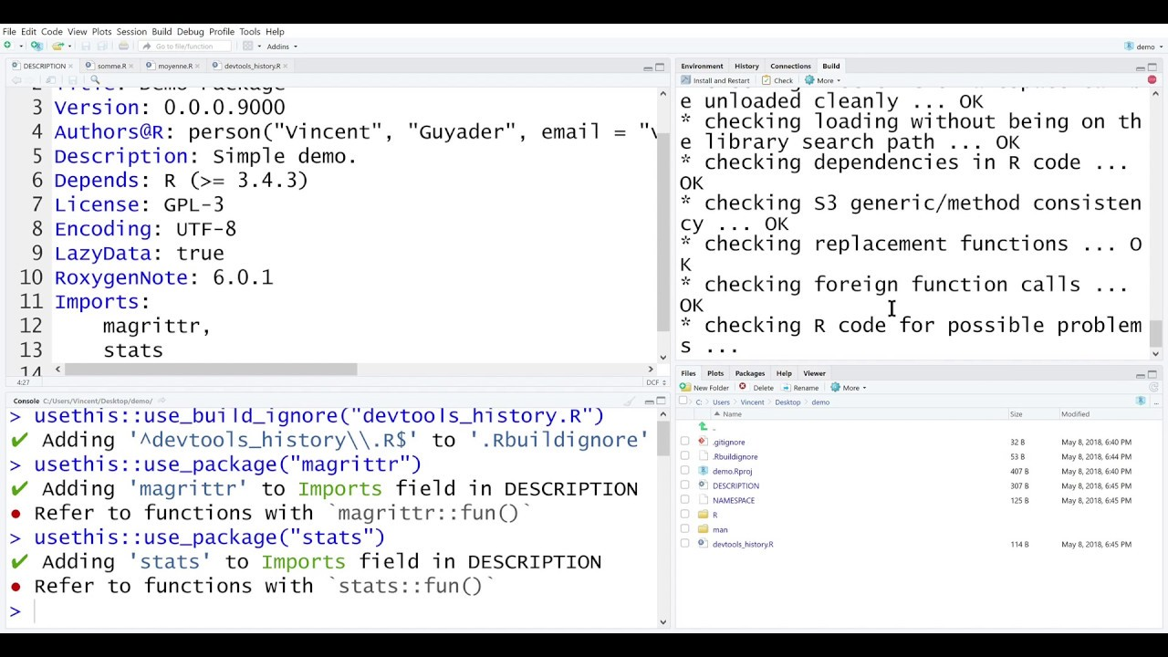 Create a R package using devtools and Rstudio in 6 minutes