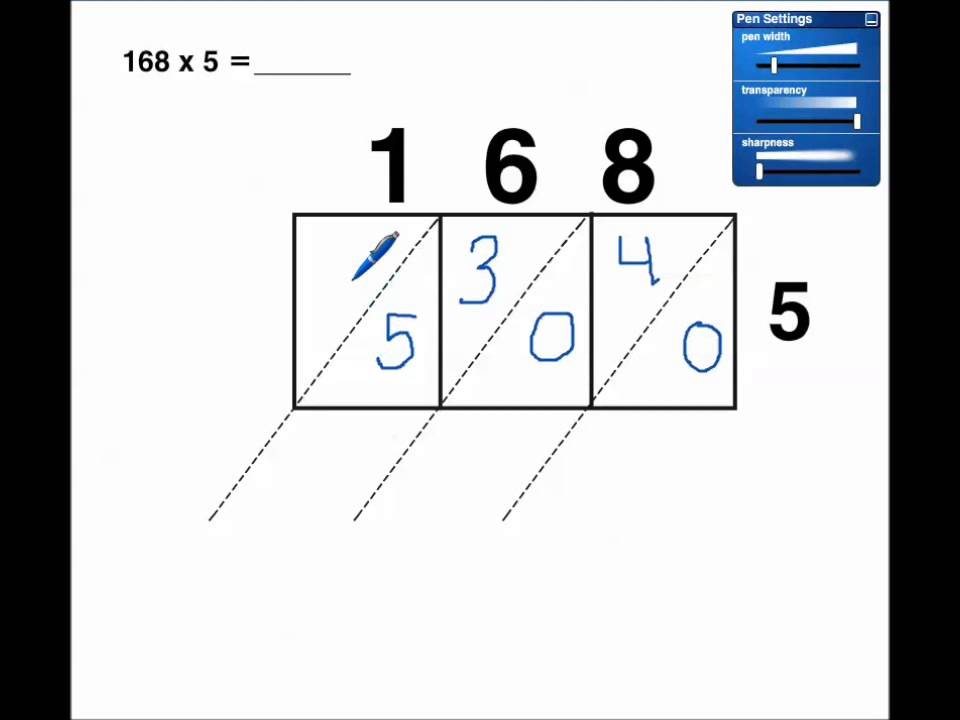 lattice multiplication 1 digit x 3 digit no regrouping youtube