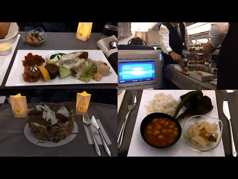Turkish Airlines Dinner Service Onboard Business Class ~ Airbus A330-300