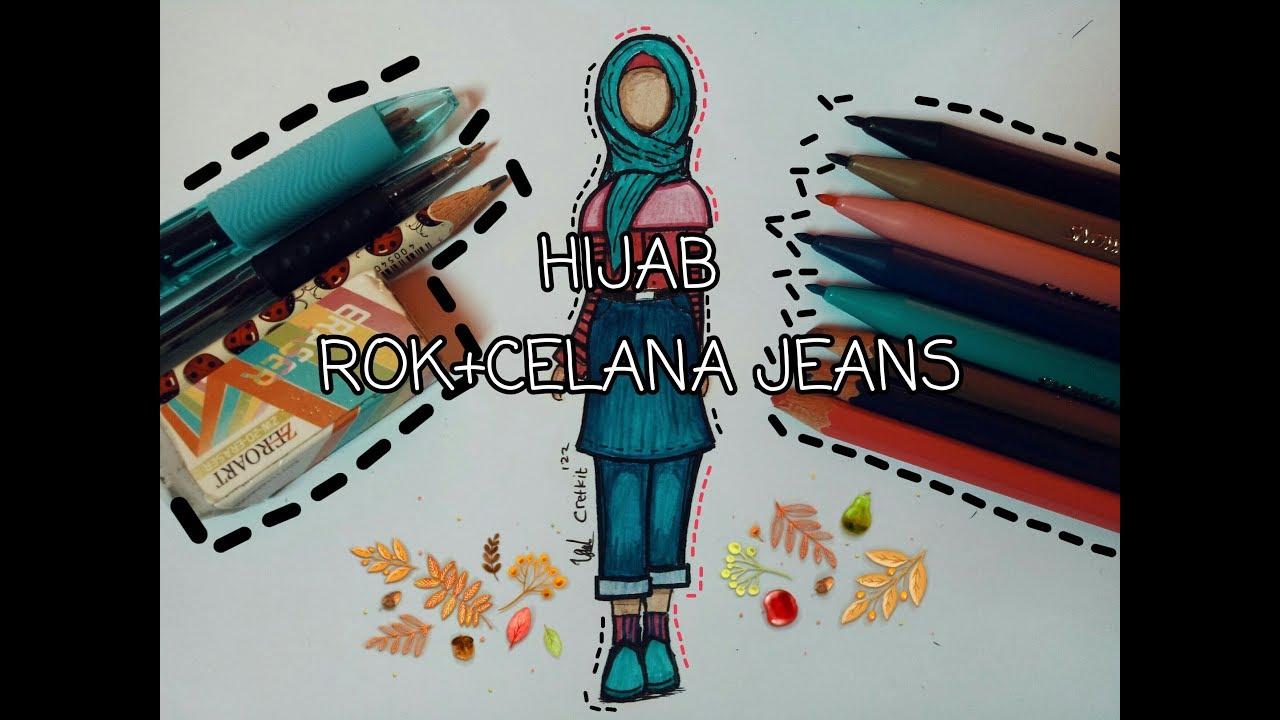 Art#desainer Fashion hijab+rok celana jeans 🌸 - YouTube