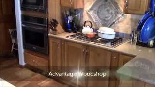 Advantage Woodshop - Rustic Hickory Kitchen And Wine Area