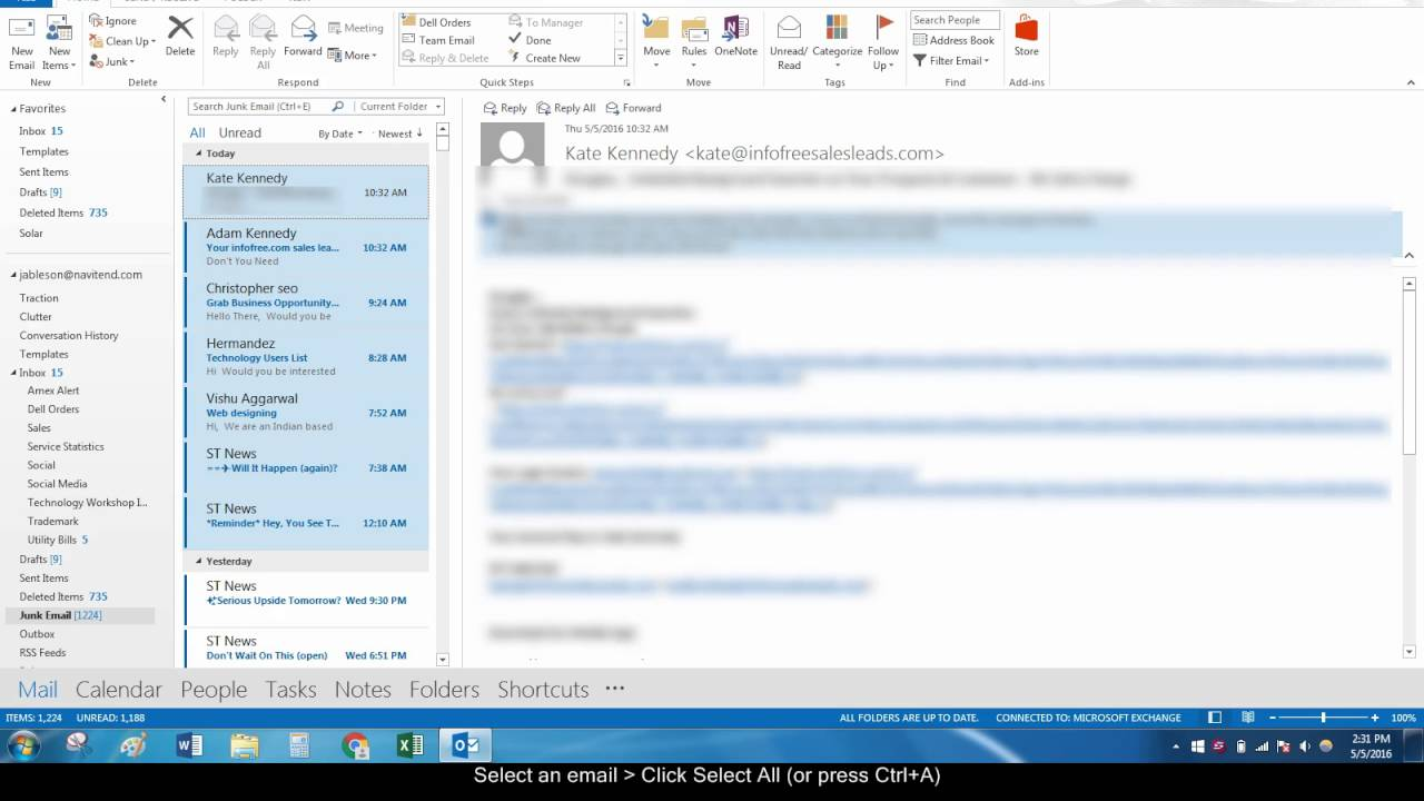 How to Select All Emails in Outlook