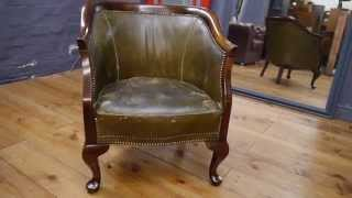 Green Age Worn Distressed Leather Oak Framed Early 20th Century Tub Chair