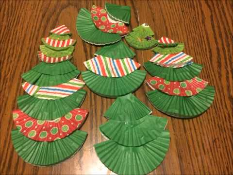 Cupcake Paper Christmas Trees by the Bulletin Board Lady