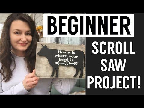 Beginner Scroll Saw Project with the Cricut! DIY Farmhouse Sign
