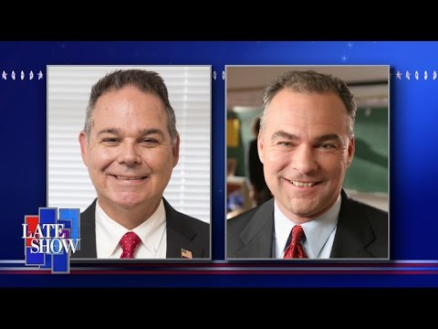"U.S. Senator Tim Kaine might be the doppleganger of Glen Rock's Mark Spada, a ""Late Show"" staffer."