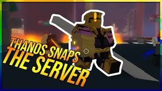 THANOS SNAPS THE ENTIRE SERVER HEROES ONLINE ROBLOX THANOS EVENT