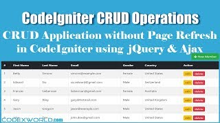 CodeIgniter CRUD Operations without Page Refresh using jQuery and Ajax