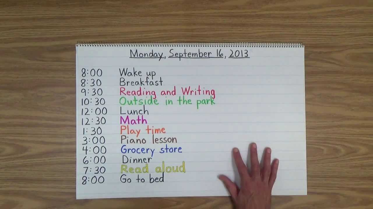Reading The Daily Schedule With Your Child