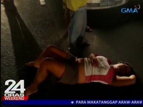 24 Oras: Babaeng tumatawid sa kalsada, nabangga ng kotse