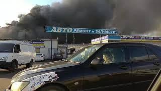 Пожар на МКАД 8.10.17 горит синдика возле Леруа Мерлен