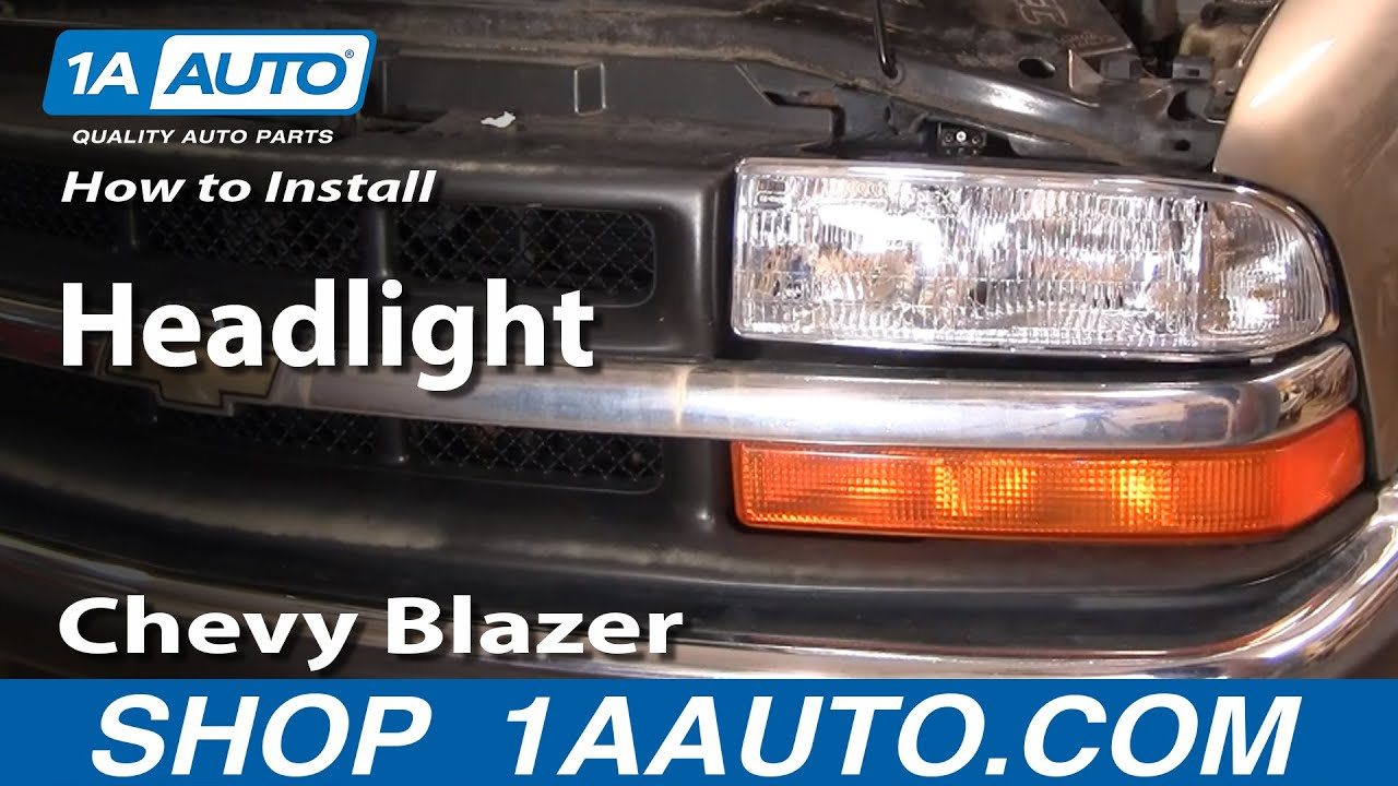 how to install replace headlight chevy s 10 s10 blazer 98 05 1aauto com youtube chevy traverse fuse box diagram 2014 chevy traverse fuse box location