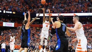 John Gillon Banks CLUTCH Game Winning 3-Pointer to Beat Duke, Syracuse Fans Rush the Court