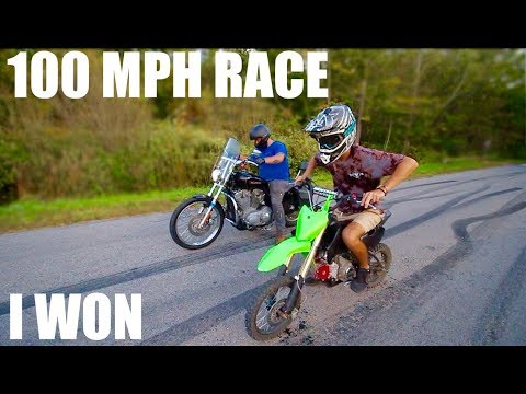 100MPH PIT BIKE VS STREET BIKE RACE!!!