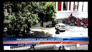 Striking Parliament staff disrupt meeting