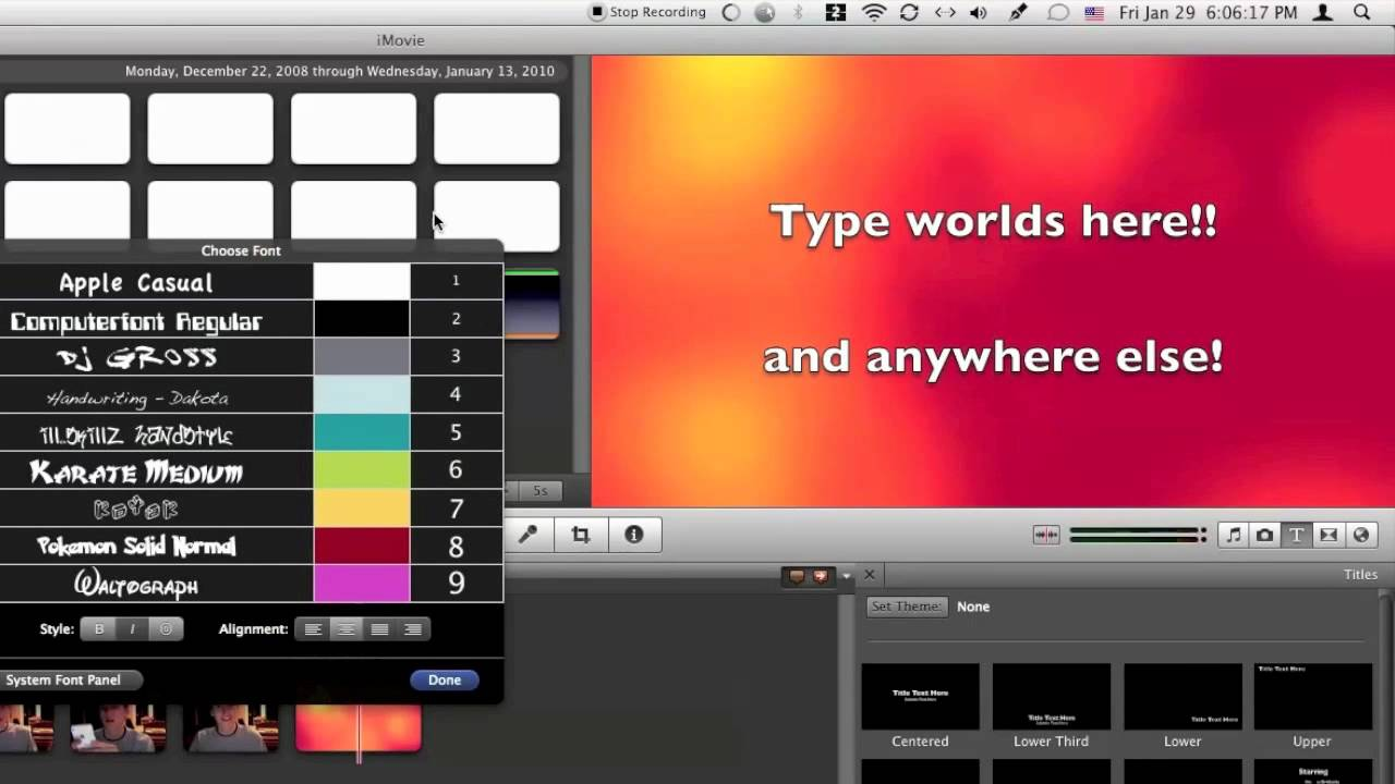 Custom Fonts in iMovie