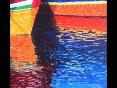 reflet de bateaux olivier lemennicier artiste peintre sur toile peinture acrylique vid o. Black Bedroom Furniture Sets. Home Design Ideas
