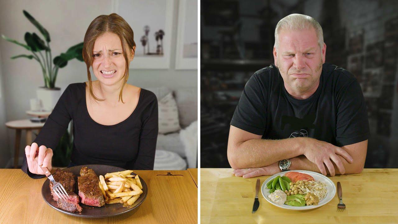 Vegan och köttätare byter kost under en dag