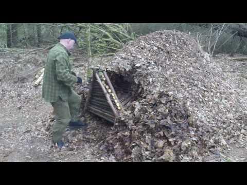 Building a Crawl-in Debris Shelter/Hut Part 4 - new door