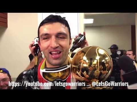 "ZAZA PACHULIA + ""Nothing easy baby!"", Warriors (4-1) postgame locker room celebration, NBA Finals G5"
