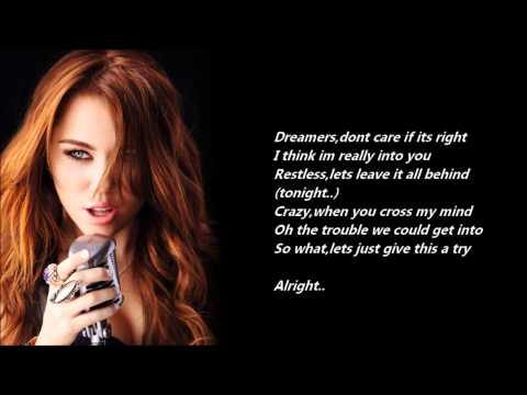 Miley Cyrus - The Time Of Our Lives /\ Lyrics On A Screen