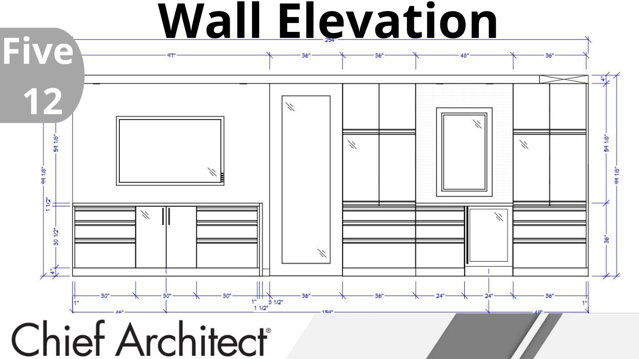 2d Five 12 Kitchen West Wall Elevation Design Youtube