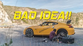 IDIOT CHANGES 370Z BRAKES IN THE CANYONS!!