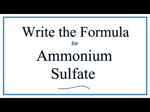How To Write The Formula For Ammonium Sulfate