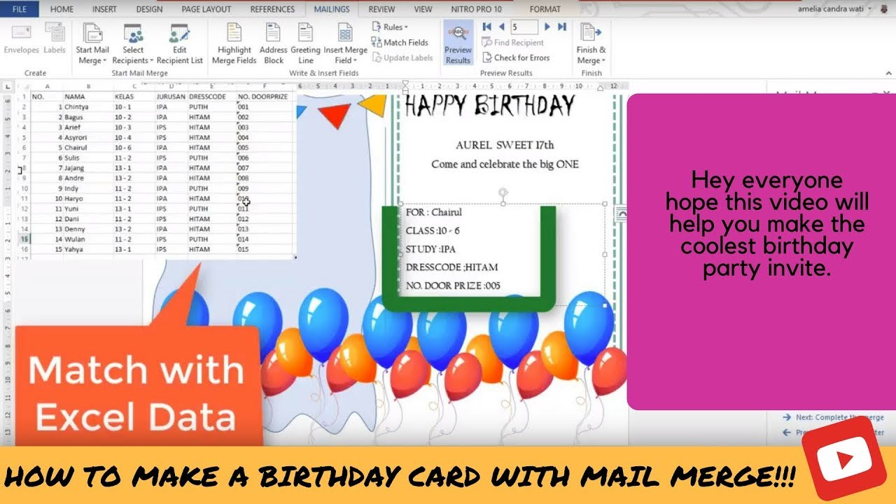 How to make a birthday card with mail merge youtube how to make a birthday card with mail merge stopboris Image collections