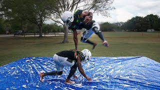 PLAYING TACKLE FOOTBALL ON A SLIP AND SLIDE PT. 2 thumbnail