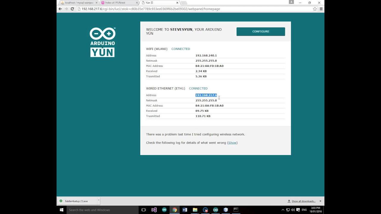 Arduino YUN IOT Analog input json data insert into mySQL database using PHP  REST