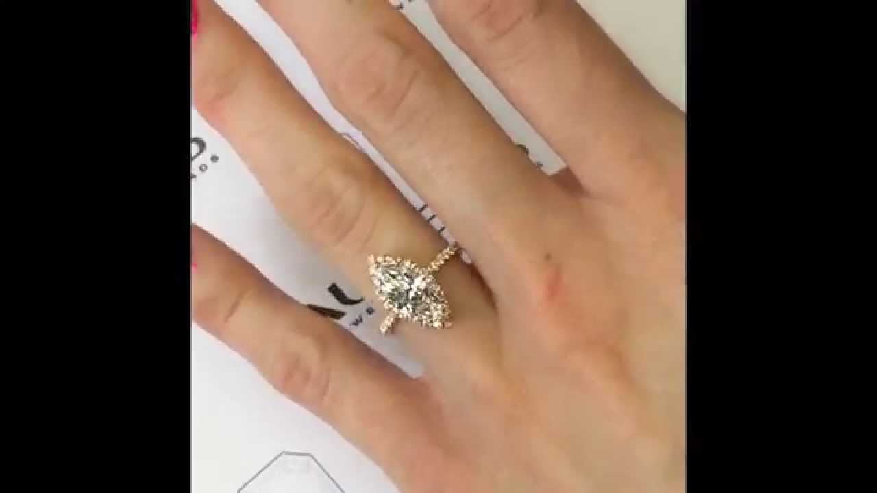 Marquise Diamond Engagement Ring in Rose Gold Micropave Halo YouTube