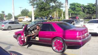 "CANDY PINK CADILLAC STS ON 24"" DUB FLOATERS RIMS!!! WETT!! WETT!!"