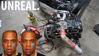 STARTING AN ENGINE OUT OF THE CAR!! *BLOWS UP*