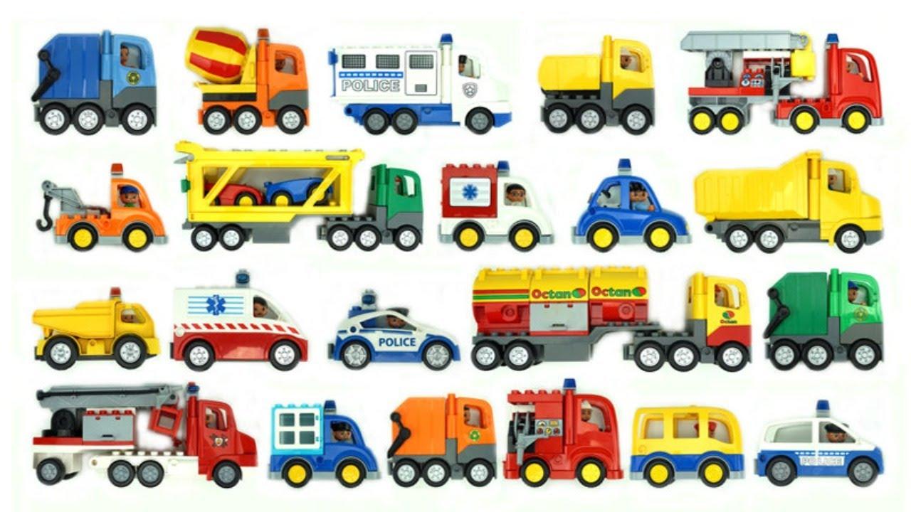 صورة فيديو : لعب سيارات للأطفال فيديو لعبة تركيب للأطفال الحفار، شاحنات التفريغ