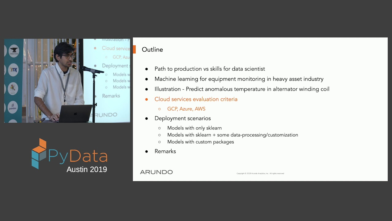 Image from Pushkar Kumar Jain: Evaluation of Cloud Hosting Frameworks for Machine... | PyData Austin 2019