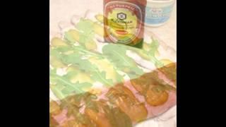 Холодные закуски мясные:Рулет из запеченного мяса,со сливочным сыром и рукколой