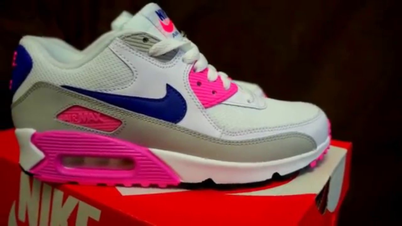 00ff26a3ae9 Nike Air Max 90 Essential White Concord Zen grey Pink glow women's