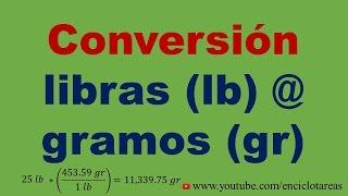 Convertir libras a gramos (lb a gr)