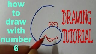 How to draw with number 6   drawing tutorial