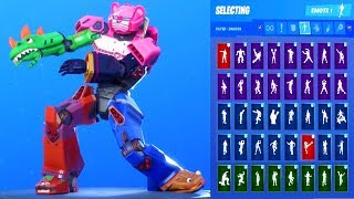 Fortnite MECHA TEAM LEADER Skin Showcase with All Dances - Emotes 'Demande d'abonné'