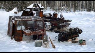 ТТ-4 Ремонт двиг. А-01 зимой в лесу Это-ж Россия детка...