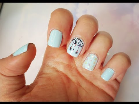 Sharpie Dreamcatcher Nail Tutorial - Sharpie Dreamcatcher Nail Tutorial - YouTube