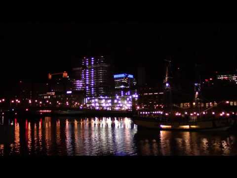 Boston's Atlantic Wharf Cityscape Nighttime Relaxing City Noises ASMR Nightscape