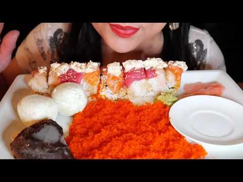 ASMR - CRUNCHY FISH EGGS & MOUNTAIN ROLL SUSHI/BIG BITES ( EATING SOUNDS)